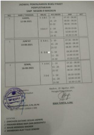 Jadwal Peminjaman Buku Paket